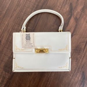 Vintage Ivory Handbag with Gold Detail